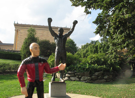 Jean Luc Picard visiting the Rocky statue