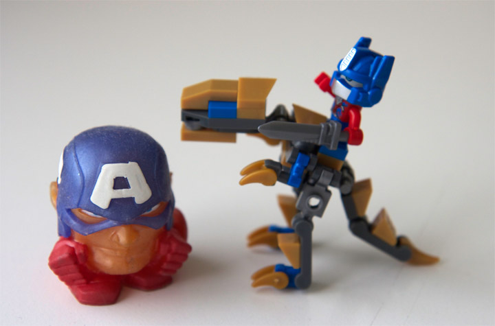 Mini Grimlock and Optimus Kreo with Capt American Squishy head